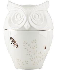 Owl Cookie Jar from Lenox Butterfly Meadow Collection.  Pinned by www.myowlbarn.com