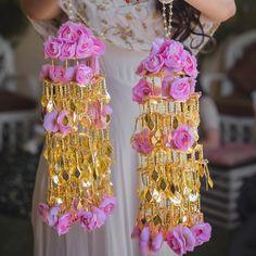 Golden kaleere with pink florals Indian Wedding Bride, Punjabi Wedding, Wedding Groom, Bridal Chuda, Mehndi Ceremony, Bridal Hair Inspiration, Bridal Bangles, Bridal Jewellery, Ornaments Design