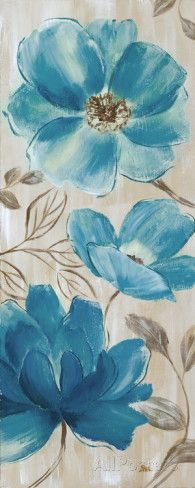 Blue Garden II Art by Nan at AllPosters.com Simple Oil Painting, Blue Painting, Fabric Painting, Painting & Drawing, Easy Flower Painting, Watercolor Flowers, Watercolor Paintings, Plant Drawing, Blue Garden