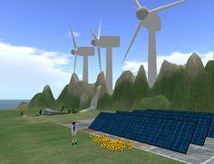 Energies renovables a l'OpenSim de Virtual Touch 2. Aprenent a construir. Móns 3D per al coneixement. Gamificació. Entorns 3D.