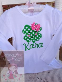 St. Patrick's Day Shirt or bodysuit for girls, 'Irish Eyes are Smiling'.  Pretty polka dot shamrock with her own bow