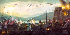 Attack on Takodana - by Christopher Clark<br>giclee on canvas