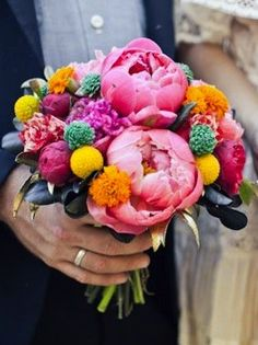Bright peonies bouquet