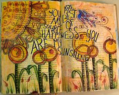 You Are My Sunshine – Altered Book Spread