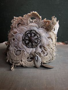 fate vintage fabric wrist cuff  hand dyed lace  by sparrowsalvage, $56.00