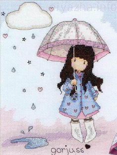 Puddles of Love Bothy Threads Counted Cross Stitch Kit Gorjuss Collection Kit contains: 14 count Zweigart Aida, pre-sorted strande Cross Stitch Baby, Counted Cross Stitch Kits, Cross Stitch Charts, Cross Stitch Designs, Cross Stitch Patterns, Cross Stitching, Cross Stitch Embroidery, Embroidery Patterns, Bothy Threads