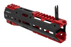 The Strike Industries Gridlok Front and Rear Segments come red anodized and feature an integrated front sight as well as picatinny rails. Ar Parts, Ar Platform, Things I Need To Buy, Iron Sights, Picatinny Rail, Rugged Style, Airsoft, Firearms, Nerf