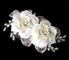 Bridal Flower hair comb Flower Wedding by TheExquisiteBride