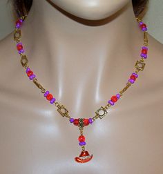 Red Hat Chain with Purple and Goldtoned Beads and by MyJannyMarie, $32.00