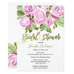 Green Pink Gold Rose Leaf Bridal Shower Card - invitations personalize custom special event invitation idea style party card cards