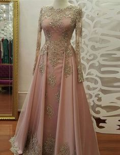 Long Sleeve Evening Dress, Long Prom Dresses with