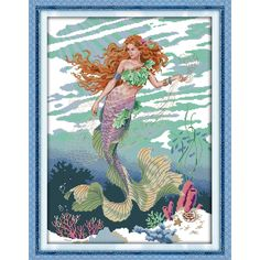 Product Description : Mermaid beautiful girl decor painting counted print on canvas DMC kits chinese Cross Stitch embroidery needlework Sets Description : Size(W*H): Threads Colour Color (Embroidering cloth): White Advantage : We have our own f Counted Cross Stitch Patterns, Cross Stitch Embroidery, Mermaid Cross Stitch, Fantasy Cross Stitch, Needlepoint Patterns, Modern Cross Stitch Patterns, Digital Pattern, Sewing Patterns Free, Needlework