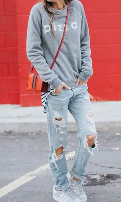 #fashion #outifits #fall Christine Andrew + tomboy style +  cool grey graphic print sweater + destroyed jeans + adidas striped sneakers.   Sweater: ILY, Jeans: Macy's, Sneakers: Adidas.