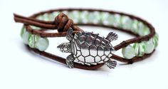 Beach Chic Beaded Leather Wrap Bracelet With Sea Turtle Button, Beach Jewelry, Mint Green, Summer Jewelry,. $38.00, via Etsy.