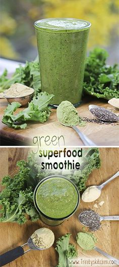 Green superfood smoothie, with barley grass powder, hemp protein powder, kale, chia seeds and maca.