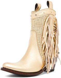 Versace Fringe Cowboy Boot in Gold, via Forward By Elyse Walker Versace Boots, Versace Gold, Gold Boots, Metallic Boots, High Heel Boots, Shoe Boots, Shoe Bag, Dress Boots, Fringe Cowboy Boots