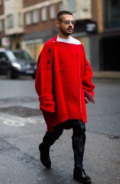 Raf Simons Red Cardigan, Street Style, Mens Fashion Week SS17.