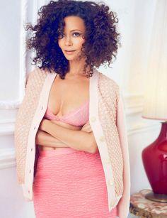 Curls + pink | Thandie Newton