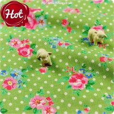 Flowers - green & pink roses & polka dots linen fabric FQ1302-55