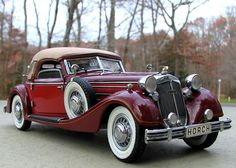 Just gorgeous!!! 1936 Horch 853 Sport Cabriolet - can you guess what movie this was featured in - I'll give you a hint - the husband got the car - the wife got the hat - and their family was forever changed in this car.