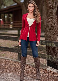 MIXED MEDIA CARDIGAN, SEAMLESS CAMI, SLIMMING STRETCH JEGGING, BUCKLE RIDING BOOT