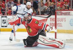 CHICAGO, IL - JUNE 10: Goalie Corey Crawford #50 of the Chicago Blackhawks and Brenden Morrow #10 of the Tampa Bay Lightning watch for the puck during Game Four of the 2015 NHL Stanley Cup Final at the United Center on June 10, 2015 in Chicago, Illinois. (Photo by Bill Smith/NHLI via Getty Images)