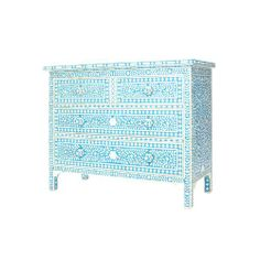 Blue Mother of Pearl Inlay chest of drawers. 110cm x 90cm x 50cm £1050