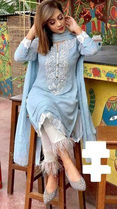 Indian kurta dress With Pent Dupatta Tunic Set blouse Combo Ethnic Bottom - Designer Dresses Couture Pakistani Fashion Casual, Pakistani Dresses Casual, Pakistani Dress Design, Kurta Designs Women, Salwar Designs, Kurti Designs Party Wear, Dress Neck Designs, Designs For Dresses, Blouse Designs
