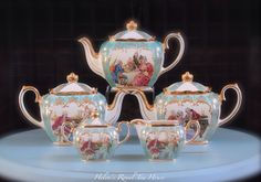 Victorian Courting Couples Sadler Teapots, turquoise green   https://www.facebook.com/HelensRoyalTeaHouse  http://www.etsy.com/shop/HelensRoyalTeaHouse