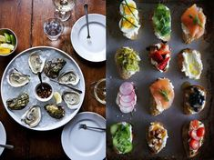"""How to have a 'Great Gatsby' inspired Art Deco wedding - """"Finger food was popular in the 1920s because it was quick to prepare, easy to share, and could be eaten between trips to the dance floor. Oysters are a luxurious choice for celebrations, with their stunning shells and elegant presentation. Crostini topped with various garnishes are colorful works of art."""""""
