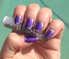 Purple and silver glitter nails using OPI Purple with a Purpose and Essie Set in Stones