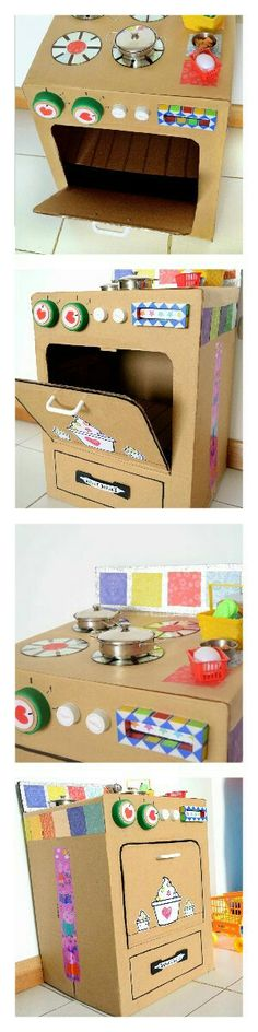Cocina de cartón: una caja vieja, tapas de frascos, cds dañados y restos de cositas que estaban por ahí...que carita de alegría cuando la vio!!