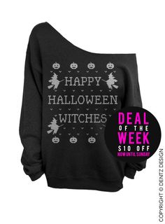 Happy Halloween Witches Black Slouchy Oversized by DentzDenim