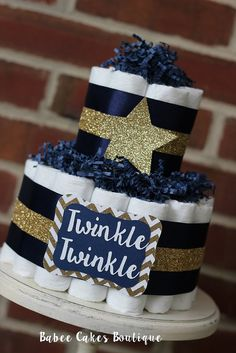 2 Tier Navy and Gold Twinkle Twinkle Diaper by BabeeCakesBoutique