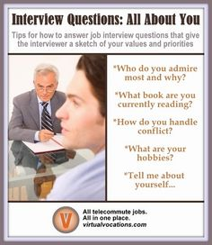 "Following are five common ""all about you"" questions with insight on what the interviewer is looking for and #tips on how to formulate your responses. #jobinterview #career #advice"