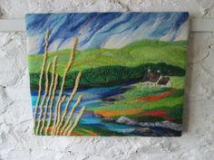 textile art landscape, felt landscape, lake picture