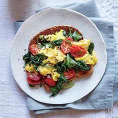 "Veggie Eggy Scramble | Katie admits that she and her family ""aren't big morning people."" They rush through and typically grab what's convenient. We like the idea of getting them to incorporate veggies into the morning meal, and it's not hard or time-consuming to do. Katie can spend a few minutes prepping everything the night before (including beating the egg-cheese mixture) to make the next morning a breeze. When they need this to be grab and go, they can stuff the scramble into a…"