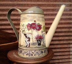 vintage watering can, decoupage