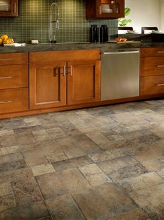 Washroom, Kitchen, Entry, & Back door Armstrong Random Block Paver 8.30 mm Laminate Stone/Ceramic Look