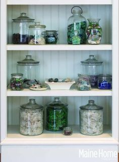 Put you shell collections and decor on bead board shelves in glass jars!