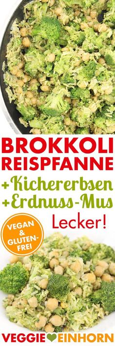 Vegan broccoli rice pan with chickpeas - Glücksprinzip - Raw Food Recipes Rice Recipes For Dinner, Raw Food Recipes, Vegetarian Recipes, Healthy Recipes, Lunch Recipes, Broccoli Rice, Le Diner, Evening Meals, Vegan Gluten Free