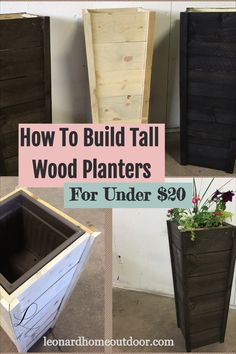 How to Build Tall, Wooden Planters DIY – Leonard Home Outdoor - Modern Tall Wooden Planters, Front Door Planters, Indoor Planters, Flower Planters, Cheap Planters, Rustic Planters, Modern Planters, Concrete Planters, Ceramic Planters