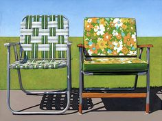 Wyatt Waters should paint this.  It reminds me of our family Easter in the country.  Garden Chairs - Leah Giberson