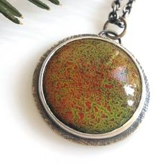 This crackled necklace is one of a kind with its beautiful red and green crackles.