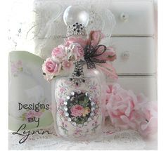 Beautiful Bejeweled Bottle 36 Shabby Paris Apartment Chic- Hand Decorated Bottle Originals By Lynn-pink, roses, shabby, chic, ruffles, Victorian, Vintage, Lynn, Barkcloth, PINK, cottage, white, Brundage,bottle