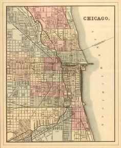 Antique Chicago city map