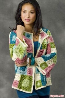 Crochet Granny Square Ideas Ravelry: Tulsa Jacket pattern by Diane Moyer / LOVE the colors. Crochet Bolero, Crochet Jacket Pattern, Crochet Coat, Crochet Cardigan, Love Crochet, Crochet Clothes, Crochet Patterns, Crochet Sweaters, Crochet Squares