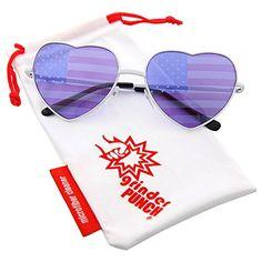 9dfc49df04b Amazon.com  grinderPUNCH Women s Heart Shaped American Flag Cute Sunglasses  US Shades  Clothing