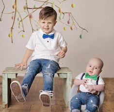 Baby Fitz Suspender Set, Baby Boy First Birthday Outfit, Brothers Easter Photos