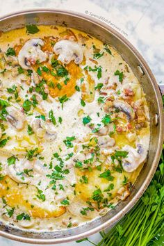 Chicken and Mushrooms create the most incredible pastasauce. In this recipe, tender juicy chicken breasts are cooked in a rich and creamy mushroom and bacon sauce in under 30minutes. This recipe is perfect served over pasta or rice.